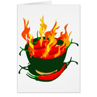 Hot peppers in green cup flames note card