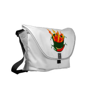 Hot peppers in green cup flames courier bags