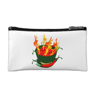 Hot peppers in green cup flames png makeup bags