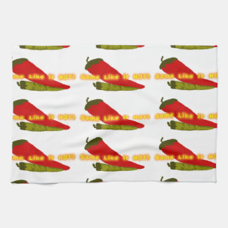 Hot Peppers On White Tea Towel