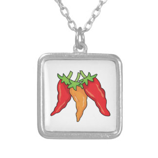 Hot Peppers Square Pendant Necklace