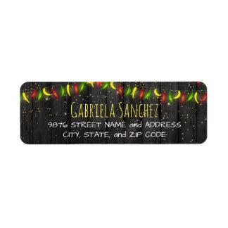 Hot Peppers String Lights Return Address Label