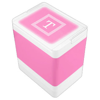 Hot Pink2 Wht Greek Key Frame #1 Initial Monogram Igloo Cooler
