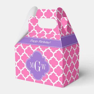 Hot Pink2 Wht Moroccan #5 Amethyst 3 Init Monogram Favour Box