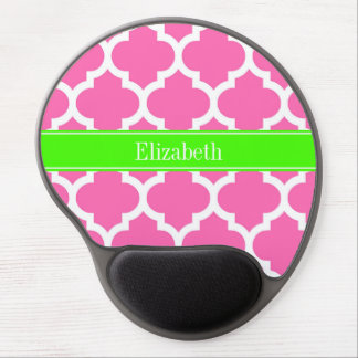Hot Pink2 Wht Moroccan #5 Lime Green Name Monogram Gel Mouse Pad