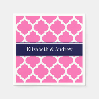 Hot Pink2 Wht Moroccan #5 Navy Blue Name Monogram Paper Serviettes