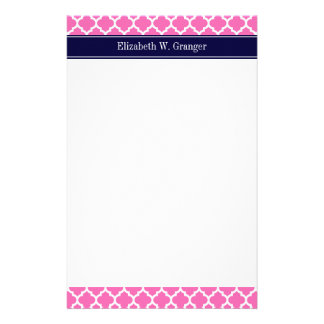 Hot Pink2 Wht Moroccan 5 Navy Blue Name Monogram Customized Stationery