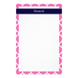 Hot Pink2 Wht Moroccan 5 Navy Blue Name Monogram Stationery