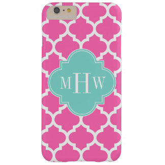 Hot Pink2 Wt Moroccan #5 Turquoise 3 Init Monogram Barely There iPhone 6 Plus Case