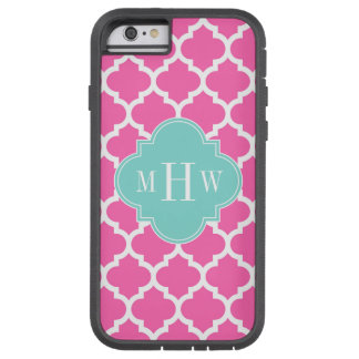 Hot Pink2 Wt Moroccan #5 Turquoise 3 Init Monogram Tough Xtreme iPhone 6 Case