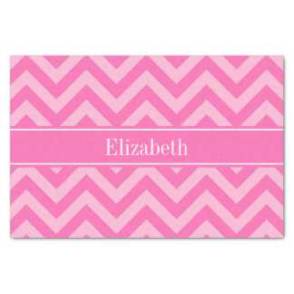 "Hot Pink #2 Cotton Candy LG Chevron Name Monogram 10"" X 15"" Tissue Paper"