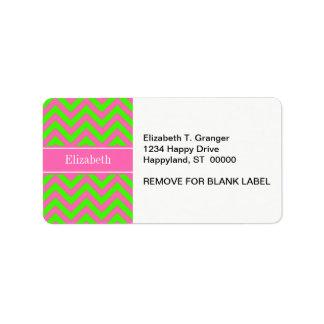 Hot Pink #2 Lime Green LG Chevron Name Monogram Address Label