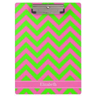 Hot Pink #2 Lime Green LG Chevron Name Monogram Clipboard