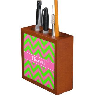 Hot Pink #2 Lime Green LG Chevron Name Monogram Desk Organiser