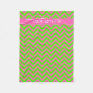 Hot Pink #2 Lime Green LG Chevron Name Monogram Fleece Blanket