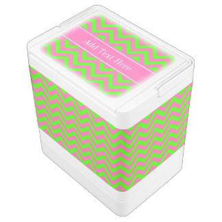 Hot Pink #2 Lime Green LG Chevron Name Monogram Igloo Cooler