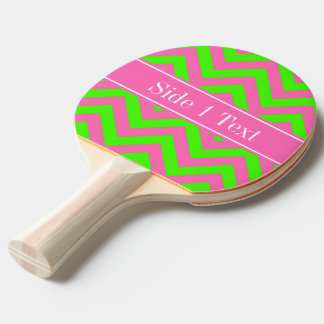 Hot Pink #2 Lime Green LG Chevron Name Monogram Ping Pong Paddle