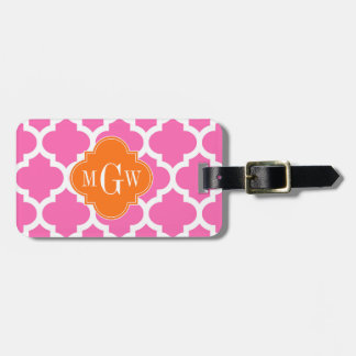 Hot Pink#2  Moroccan #5 Pumpkin 3 Initial Monogram Luggage Tag
