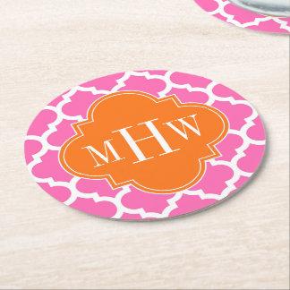 Hot Pink#2  Moroccan #5 Pumpkin 3 Initial Monogram Round Paper Coaster