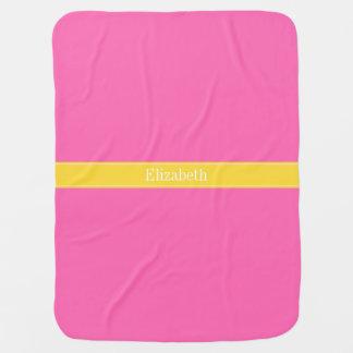 Hot Pink #2, Pineapple Ribbon Name Monogram Baby Blanket