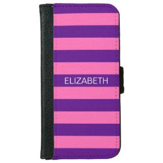 Hot Pink #2 Purple Horiz Preppy Stripe Monogram iPhone 6 Wallet Case