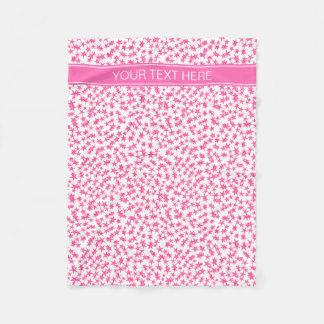 Hot Pink 2 Stars White BG, Hot Pink Name Monogram Fleece Blanket