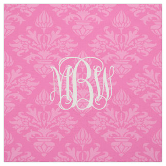 Hot Pink 2 Tone Damask #3 Vine Script Monogram Fabric