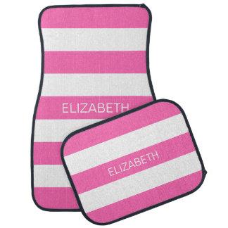 Hot Pink #2 White Horiz Preppy Stripe #3 Monogram Floor Mat