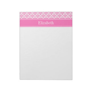 Hot Pink 2 Wht Damask #3 Hot Pink Name Monogram Notepad