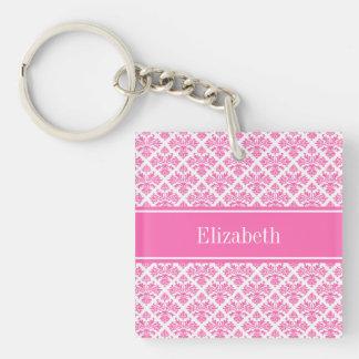 Hot Pink 2 Wht Damask #3 Hot Pink Name Monogram Single-Sided Square Acrylic Key Ring