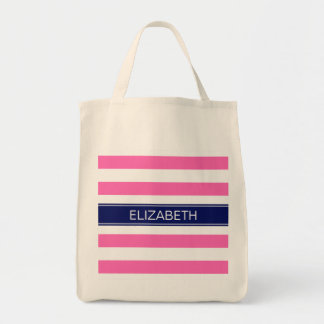Hot Pink #2  Wht Horiz Stripe Navy Name Monogram Grocery Tote Bag