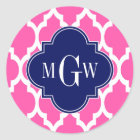 Hot Pink #2 Wht Moroccan #4 Navy Name Monogram Classic Round Sticker