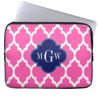 Hot Pink #2 Wht Moroccan #4 Navy Name Monogram Laptop Computer Sleeve