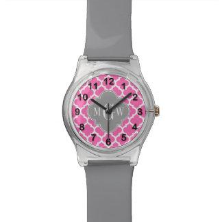 Hot Pink #2 Wht Moroccan #5 Dk Gray Name Monogram Watch