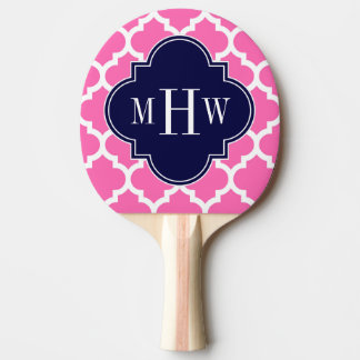 Hot Pink#2 Wht Moroccan #5 Navy 3 Initial Monogram Ping Pong Paddle