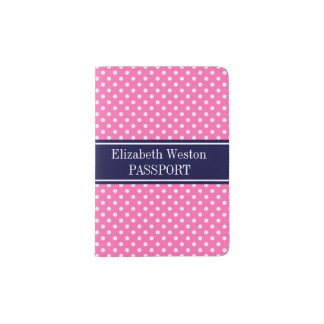 Hot Pink #2 Wht Polka Dots Navy Blue Name Monogram Passport Holder