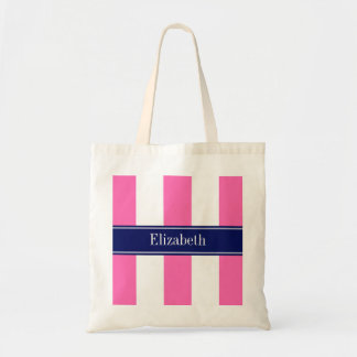 Hot Pink #2 XL Stripes, Navy 5c Name Monogram Budget Tote Bag