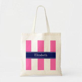 Hot Pink #2 XL Stripes, Navy 5c Name Monogram Budget Tote Bag