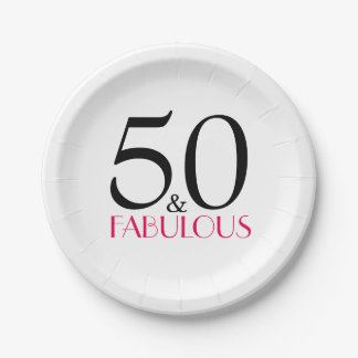 Hot Pink 50 and Fabulous Birthday Party Paper Plate