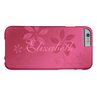 Hot Pink Abstract Floral Custom Name Barely There iPhone 6 Case