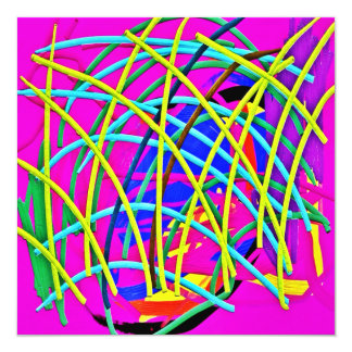 Hot Pink Abstract Girly Doodle Design Novelty Gift 13 Cm X 13 Cm Square Invitation Card
