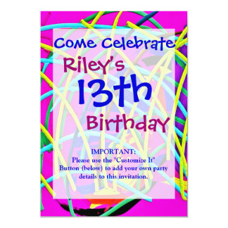 Hot Pink Abstract Girly Doodle Design Novelty Gift 13 Cm X 18 Cm Invitation Card
