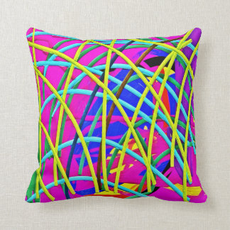 Hot Pink Abstract Girly Doodle Design Novelty Gift Throw Cushion