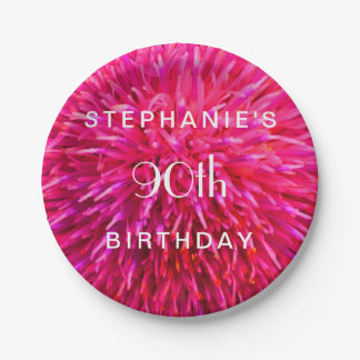Hot Pink Abstract Paper Plates 90th Birthday Party