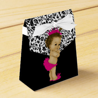 Hot Pink African American Baby Girl Shower Favour Box