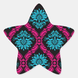 hot pink and aqua blue black ornate damask star sticker