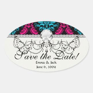 hot pink and aqua blue black ornate damask oval sticker