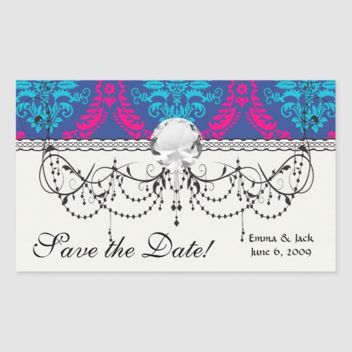 hot pink and aqua blue navy ornate damask rectangle stickers