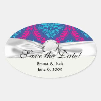 hot pink and aqua blue navy ornate damask oval sticker