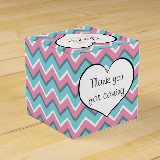 hot pink and aqua blue zigzag pattern monogram favour box